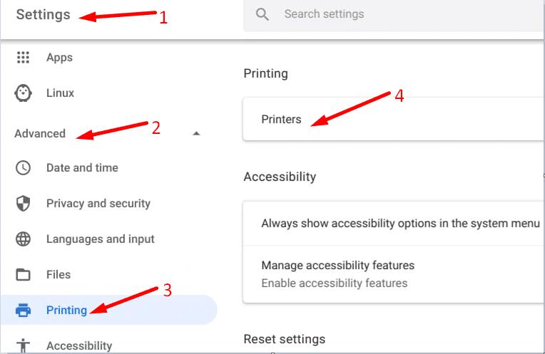 chromeOS settings advanced printers