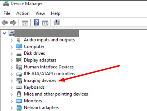 device manager imaging devices