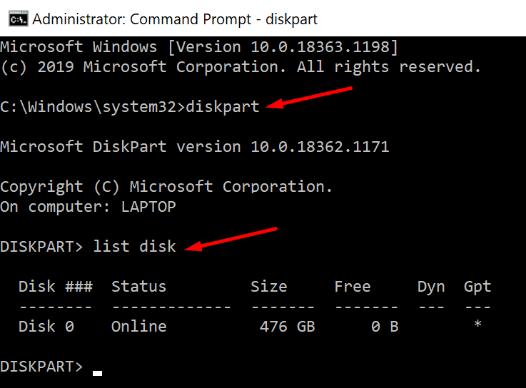 diskpart list disk command prompt