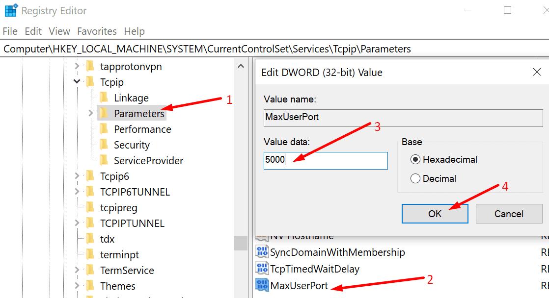 edit tcpip parameters