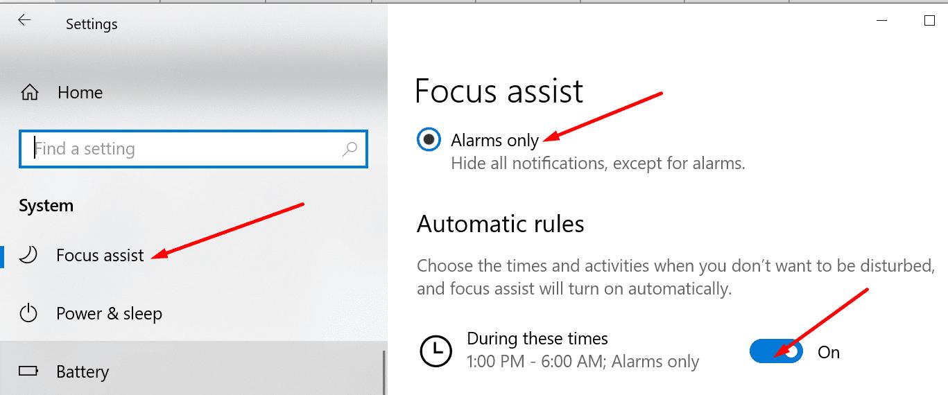 enable focus assist windows 10