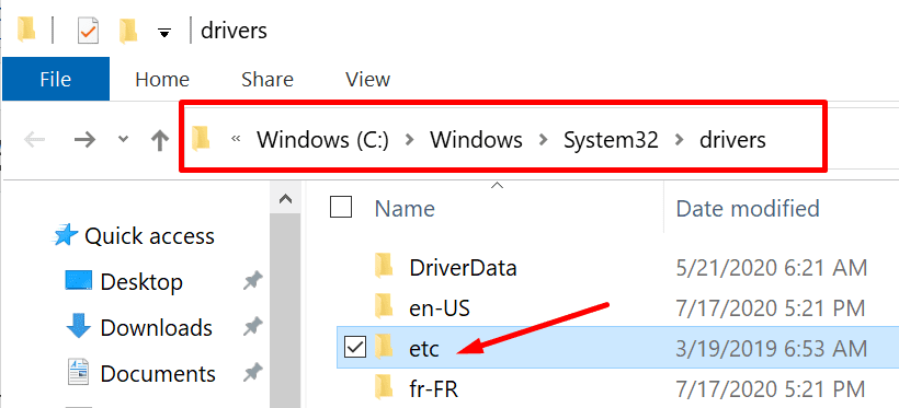 etc folder windows 10