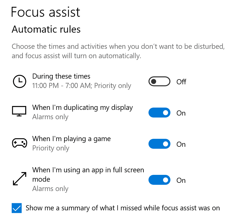 focus assist automatic rules