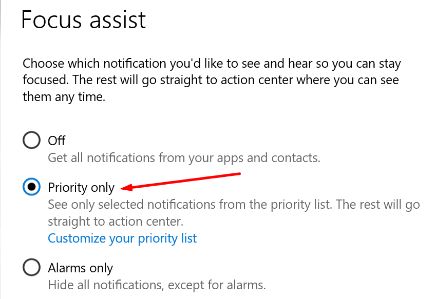 focus assist priority only settings