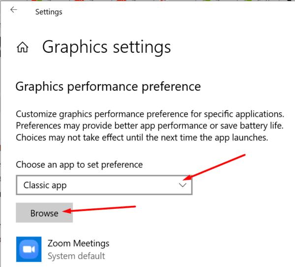 graphics performance preference windows 10