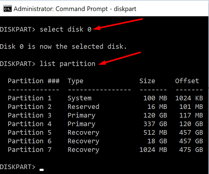 list disk partition command prompt windows 10