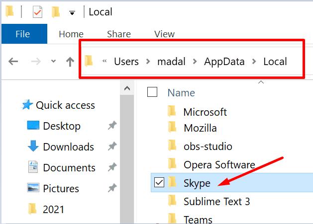 local appdata skype