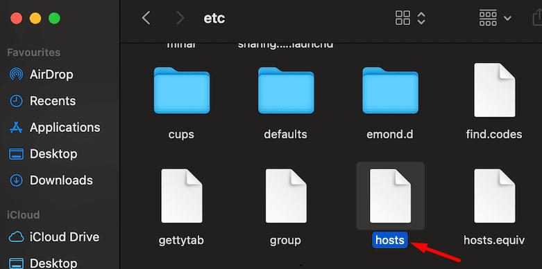 macOS etc folder hosts file