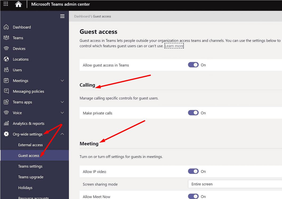 microsoft teams admin center guess access settings