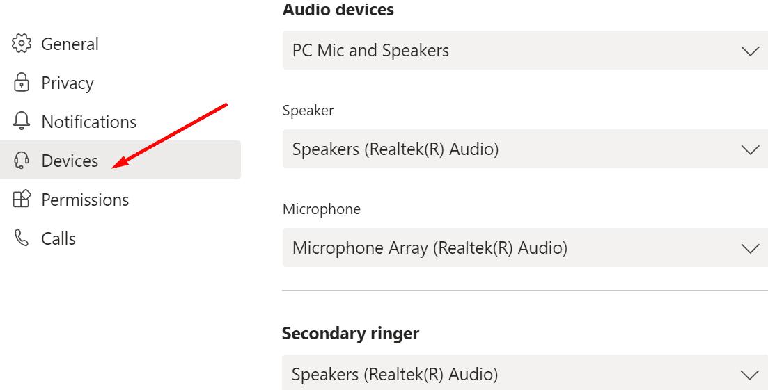 microsoft teams audio settings