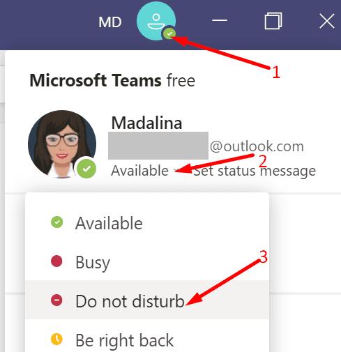 microsoft teams do not disturb status