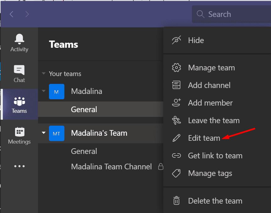 microsoft teams edit team