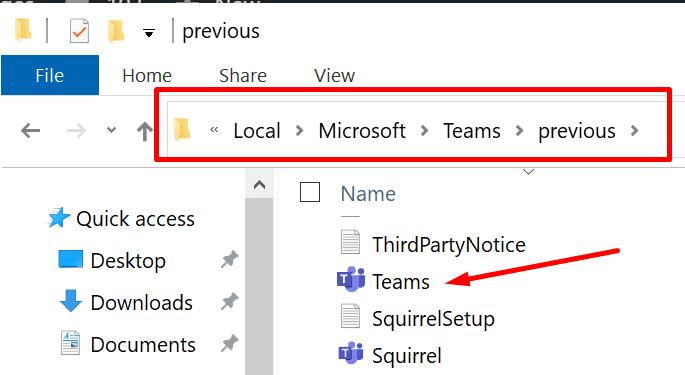 microsoft teams previous folder