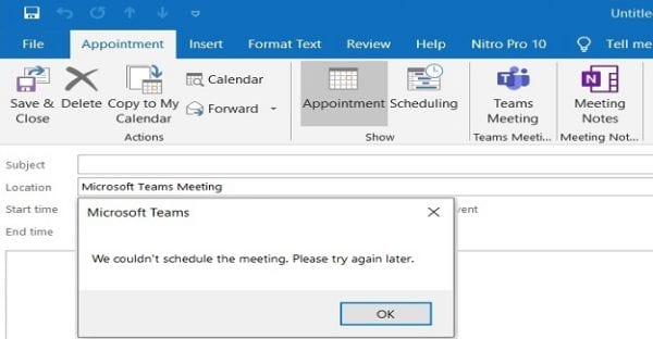 microsoft teams we couldn't schedule the meeting