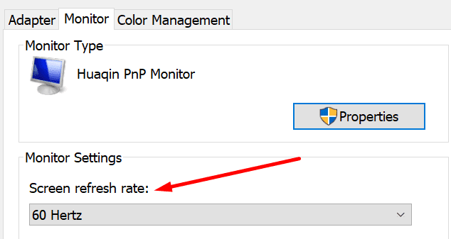 monitor screen refresh rate windows 10