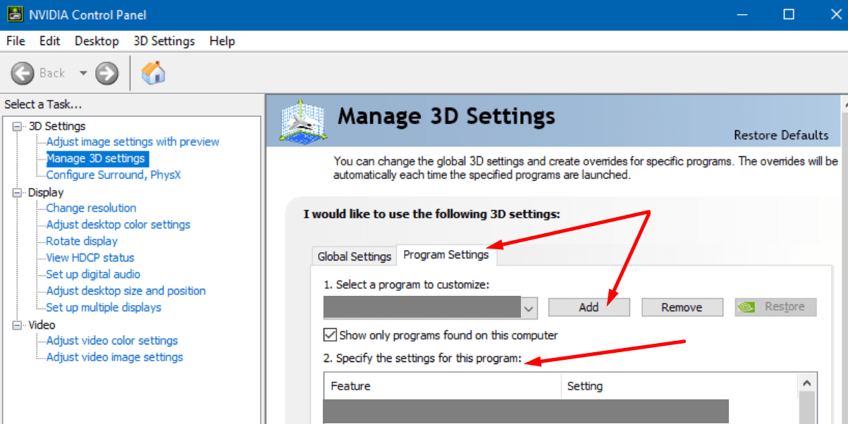 nvidia manage 3d settings program settings
