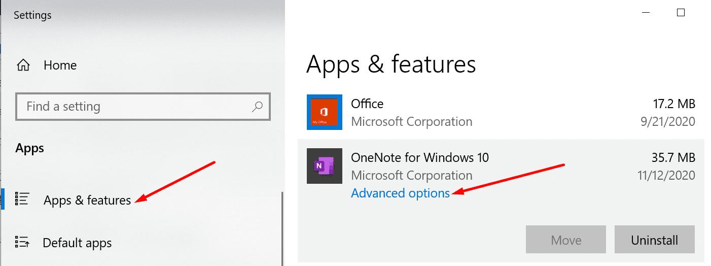 onenote advanced options windows 10