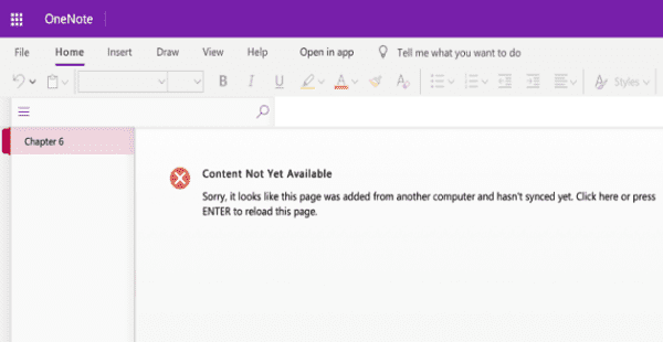 onenote content not yet available error