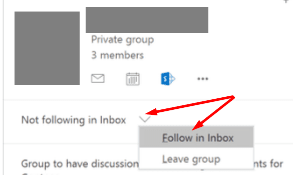 outlook group follow in inbox