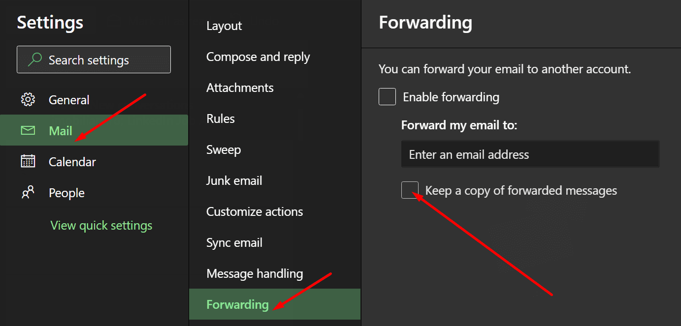 outlook keep copy of forwarded messages