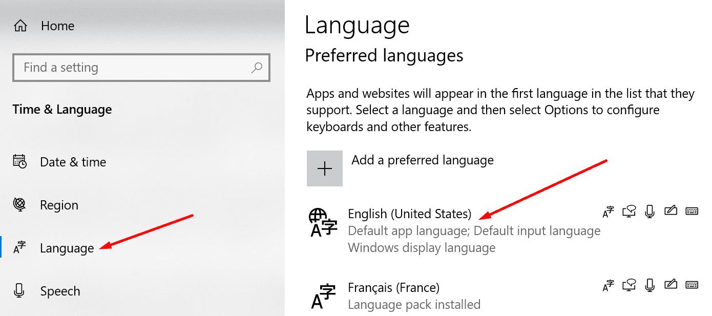 preferred language settings windows 10