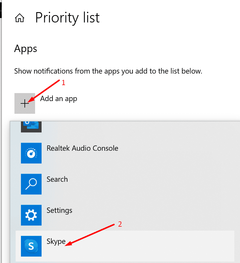 priority list add skype