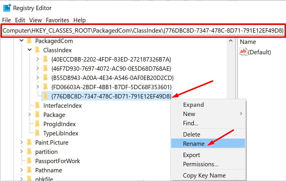 registry editor class index