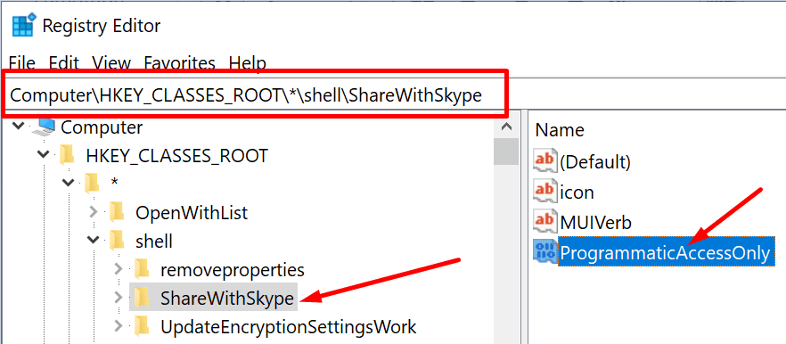 registry editor shell share with skype