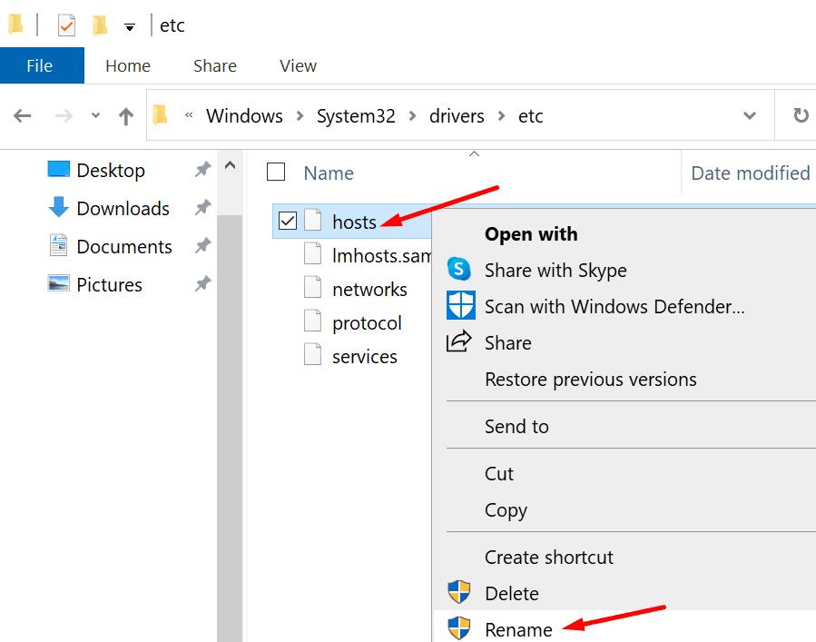 rename hosts file windows 10