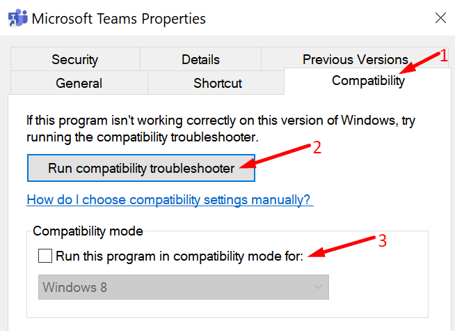 run compatibility troubleshooter microsoft teams