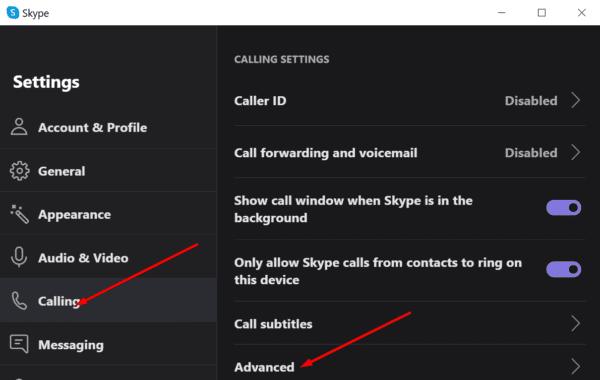 skype calling advanced settings