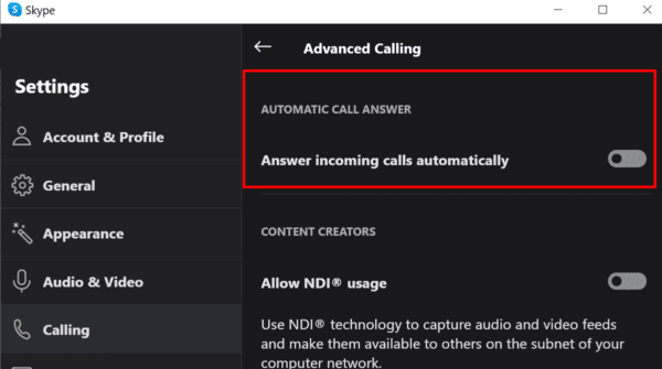 skype disable automatic call answer