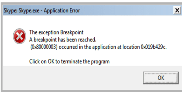 skype exception breakpoint error