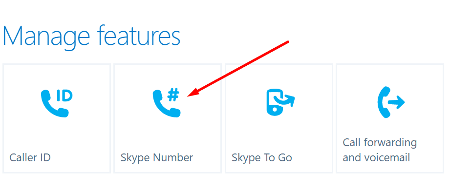 skype manage features skype number