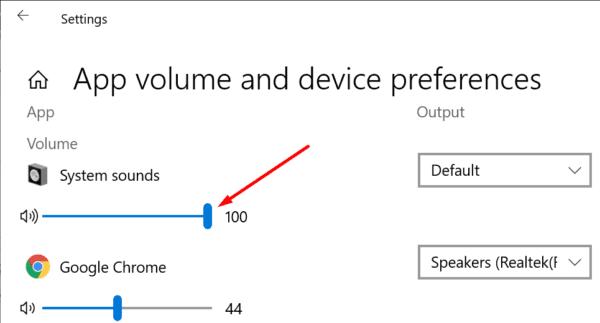 system sounds volume windows 10