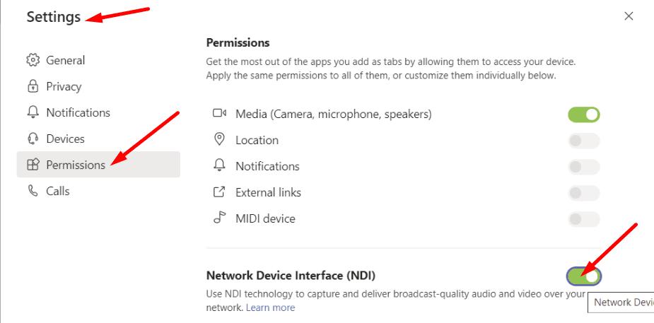teams app enable NDI