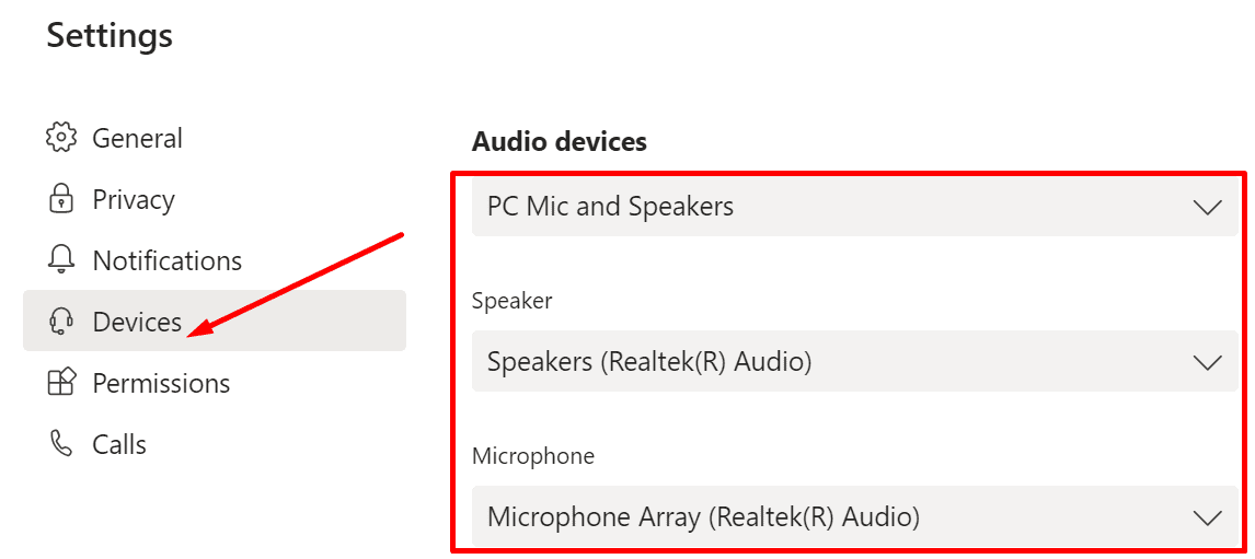 teams audio devices settings