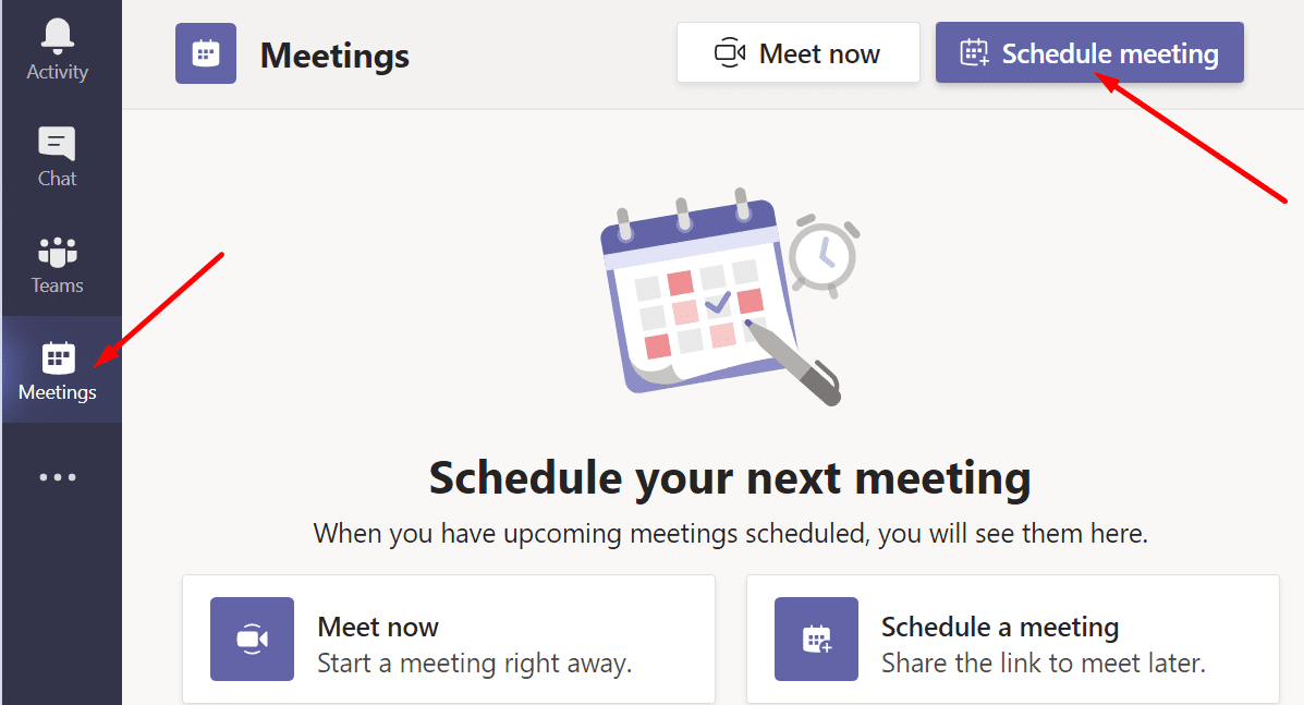 teams for web schedule meeting