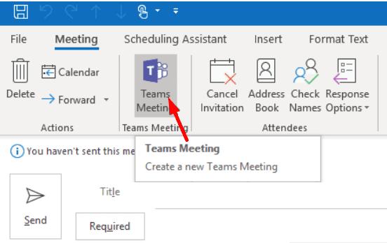 teams meeting link outlook