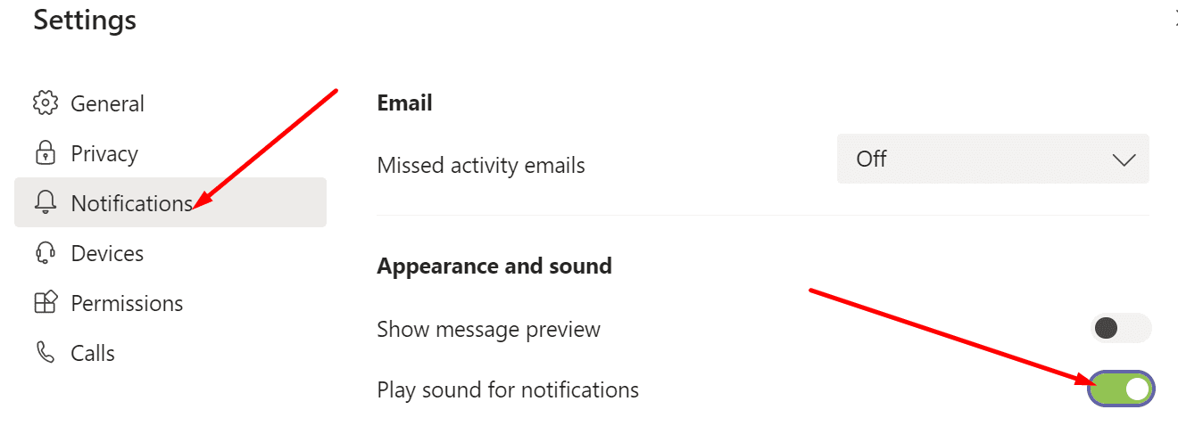 teams play sound for notifications