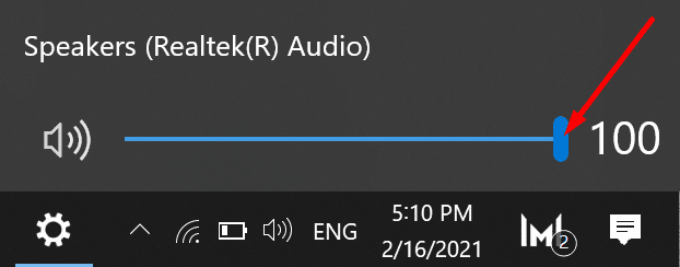 windows 10 audio volume slider