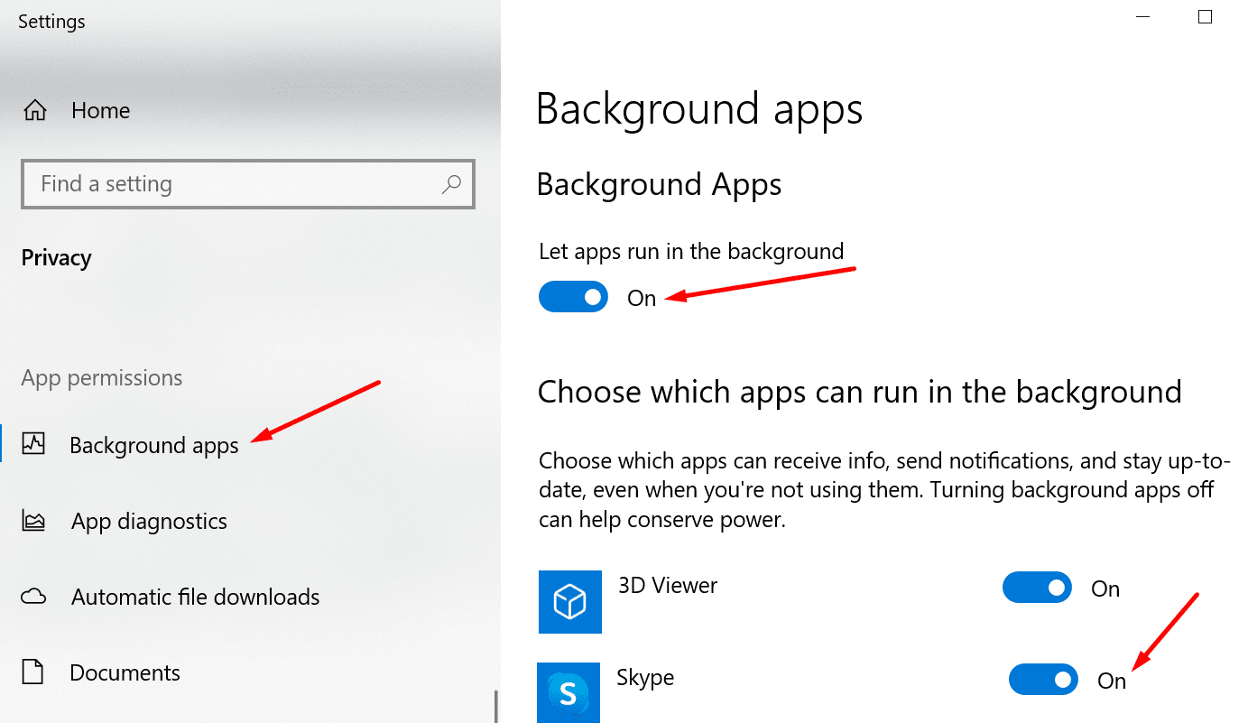 windows 10 let apps run in the background