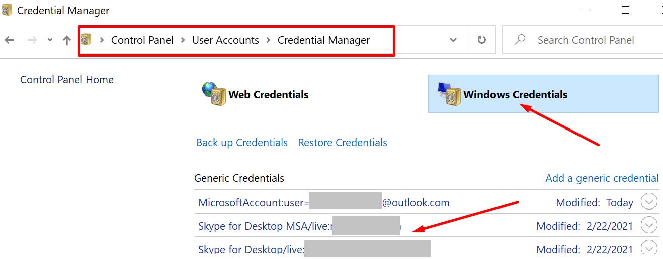 windows credentials control panel