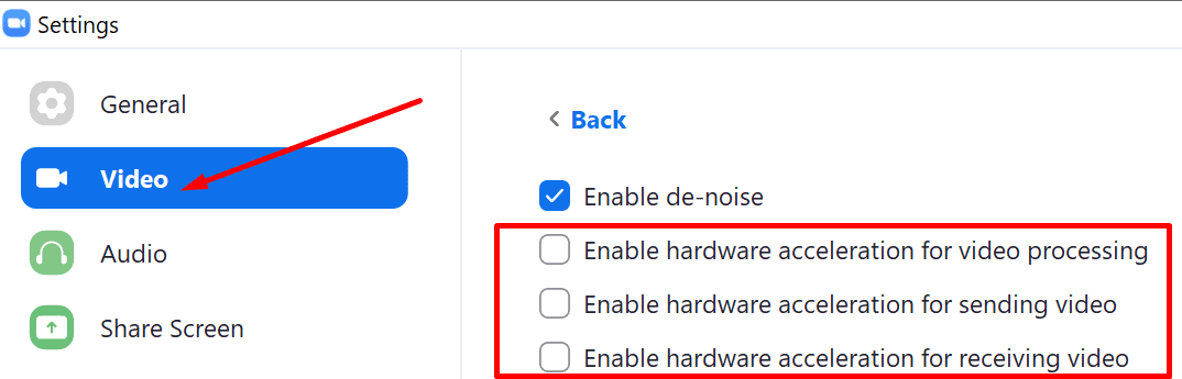 zoom disable hardware acceleration