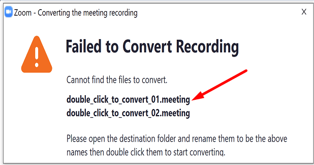 zoom double-click to convert meeting recording