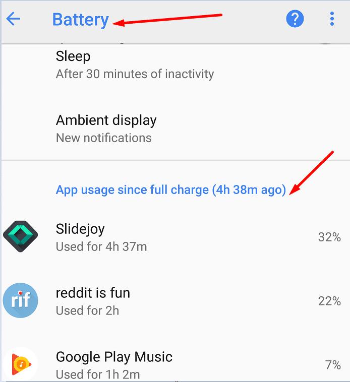 Battery usage google pixel