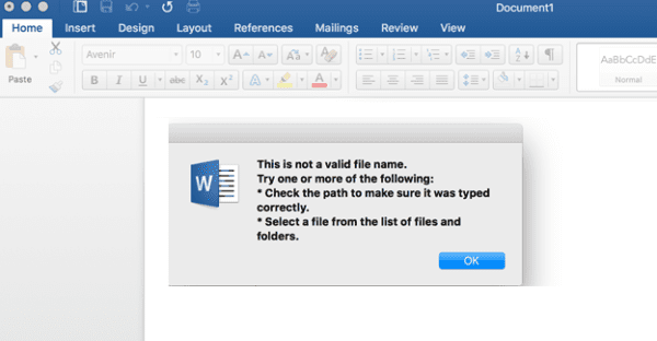 Office 365: The Filename Is Invalid When Saving