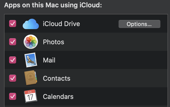 apps on this mac using iCloud