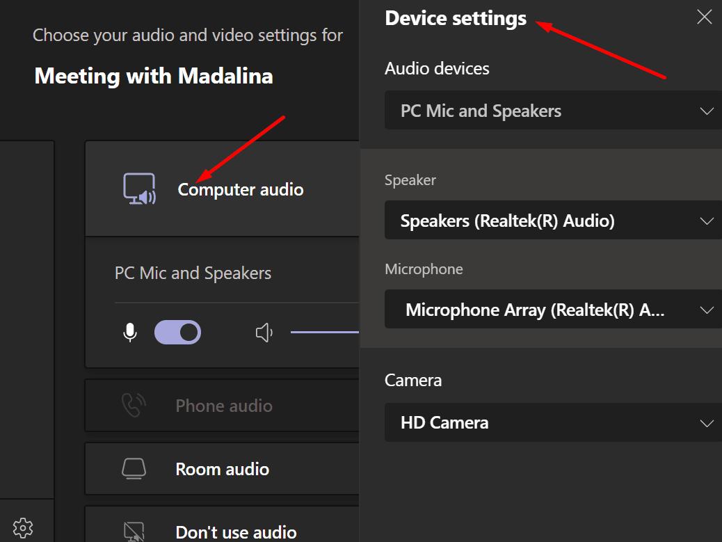 change teams audio settings during meeting