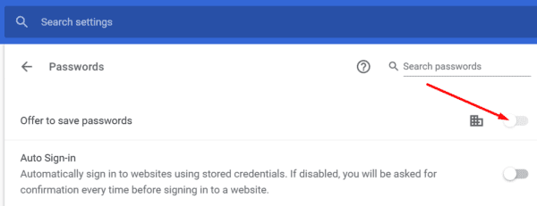 chrome disable offer to save passwords